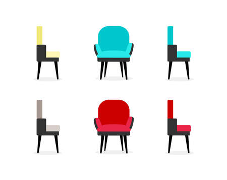 Chairs flat color vector objects set. Armchairs front and side views. Office and home furniture. Living room furnishing isolated cartoon illustration for web graphic design and animation collection
