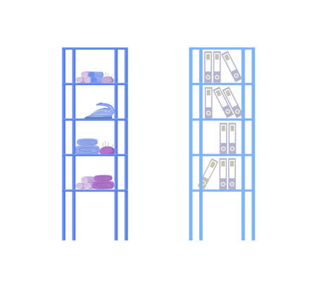 Designer studio shelves flat color vector object set. Equipment for crafting. Office storage. Furniture for workplace isolated cartoon illustration for web graphic design and animation collection