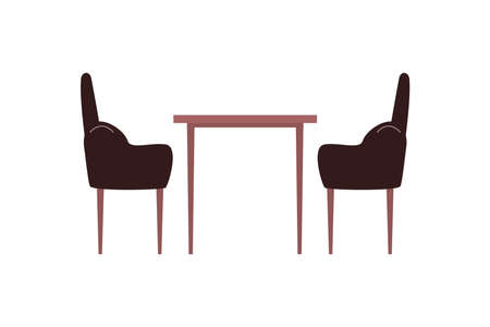 Table and chairs flat color vector object. Armchairs. Coffee table. Home furnishing. Kitchen and living room furniture isolated cartoon illustration for web graphic design and animation