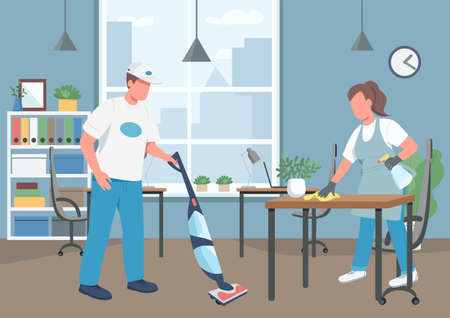 Office cleaning house flat color vector illustration. Janitors 2D cartoon characters with corporate workplace on background. Cleaning business, janitorial service. Workplace hygiene maintenance