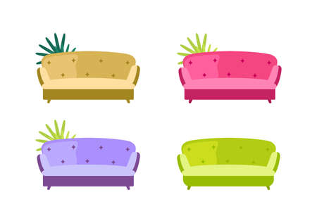 Sofa flat color vector objects set. Colorful couches. Comfortable seat with armrests. Living room furniture isolated cartoon illustration for web graphic design and animation collection Vector Illustratie