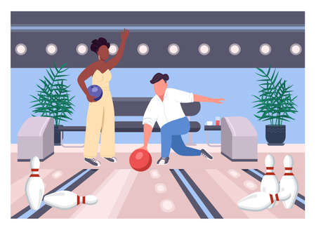Bowling date flat color vector illustration. Friends play game together. Weekend fun pastime for man and woman. Interracial couple 2D cartoon characters with game center interior on background Illusztráció