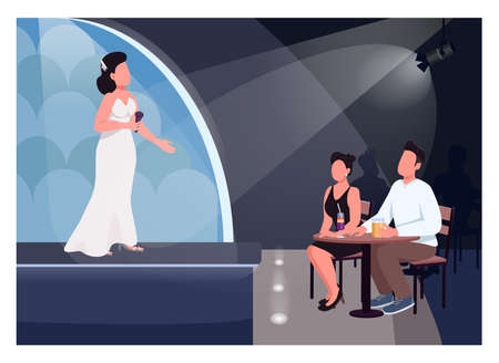 Couple watch performance flat color vector illustration. Singer on stage. Man and woman sit at table and listen to live music. Lovers 2D cartoon characters with concert hall on background Ilustrace