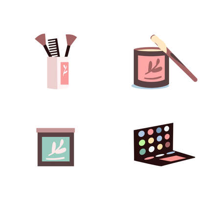 Cosmetic products flat color vector objects set. Eyeshadows palette. Sugaring creme. Make up equipment isolated cartoon illustration for web graphic design and animation collection
