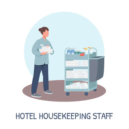 Room service social media post mockup. Hotel housekeeping staff phrase. Web banner design template. Resort cleaning booster, content layout with inscription. Poster, print ads and flat illustration Vettoriali
