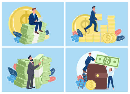 Rich people flat concept vector illustration set. Financial success and career. Businessmen with pile of coins and money 2D cartoon characters for web design collection. creative idea
