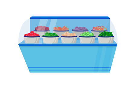 Vegetable counter flat color vector object. Vegetable in boxes in freezer. Foodstuff on shelf for shopping. Supermarket display isolated cartoon illustration for web graphic design and animation