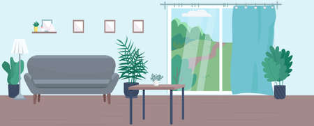 Empty living room flat color vector illustration. Contemporary home 2D cartoon interior decor with furniture on background. Comfortable accommodation furnishing, cozy apartment with no people