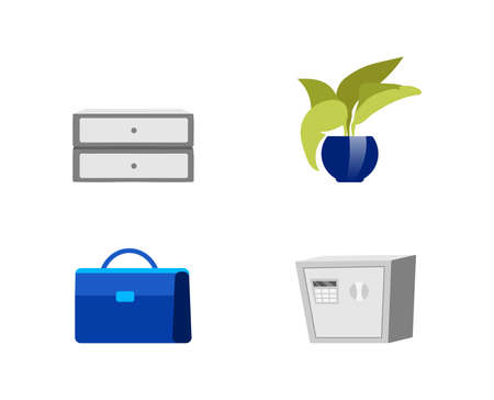 Office furniture flat color vector objects set. Chest of drawers. Corporate plant. Briefcase. Bank safe. Isolated cartoon illustration for web graphic design and animation collection
