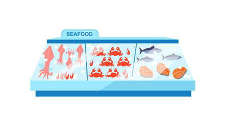 Seafood freezer flat color vector object. Frozen food showcase. Store counter. Gastronomy. Fish display in supermarket isolated cartoon illustration for web graphic design and animation