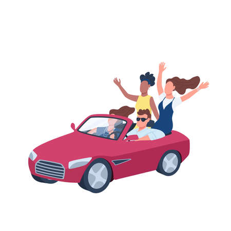 Young people driving red convertible car flat color vector faceless character. Man in car surrounded by women. Hanging out. Isolated cartoon illustration for web graphic design and animation