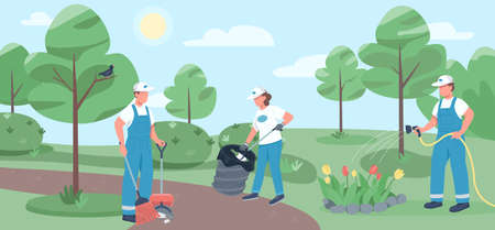Community work flat color vector illustration. Janitorial team 2D cartoon characters with park on background. Cleaning service, environmental cleanup. Volunteers collecting litter and watering flowers