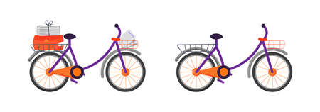 Courier bicycle flat color vector object set. Package shipping mean. Bike with newspapers. Postal delivery transportation isolated cartoon illustration for web graphic design and animation collection