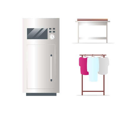 Fridge and clothes rack flat color vector objects set. Women wear. Wardrobe. Refrigerator. Freezer. isolated cartoon illustration for web graphic design and animation collection