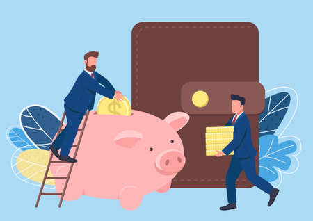 People making saving flat concept vector illustration. Two businessmen filling piggy bank with coins. Business people. Millionaires 2D cartoon characters for web design. Making profit creative idea