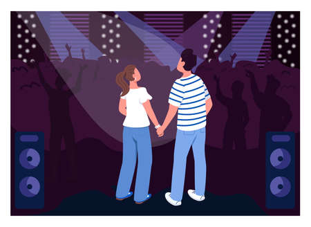 Teenage couple in club flat color vector illustration. Party in concert hall. Weekend fun entertainment for creative date idea. Friends 2D cartoon characters with crowd on background