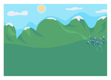 Mountain clearing flat color vector illustration. Highland spot. Rocks and rural meadow. Place with flowers for romantic picnic outdoors. Daytime 2D cartoon landscape with high peaks on background Иллюстрация