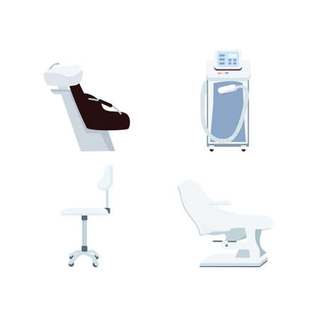 Beauty salon equipment flat color vector objects set. Chair for beauty procedures. Medical and spa center equipment isolated cartoon illustration for web graphic design and animation collection