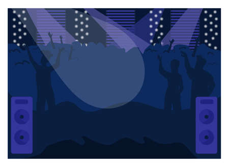 Nightclub flat color vector illustration. Fun party. Musical event. Show on stage, people enjoy concert. Nightlife entertainment. Urban club 2D cartoon interior with dancing crowd on background Vettoriali