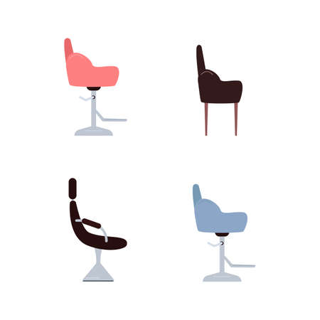 Customer seat flat color vector objects set. Barber chair. Beauty parlor furniture. Barbershop and hairdressing salon isolated cartoon illustration for web graphic design and animation collection