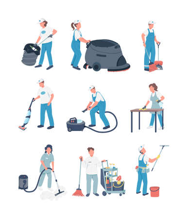 Janitors flat color vector faceless characters set. Cleaning business, housekeeping service. People with cleaning equipment isolated cartoon illustrations pack for web graphic design and animation Векторная Иллюстрация