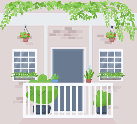 Windowsill urban garden flat color vector illustration. Potted and hanging houseplants outside building apartment. Home plant cultivation 2D cartoon exterior with building wall on background