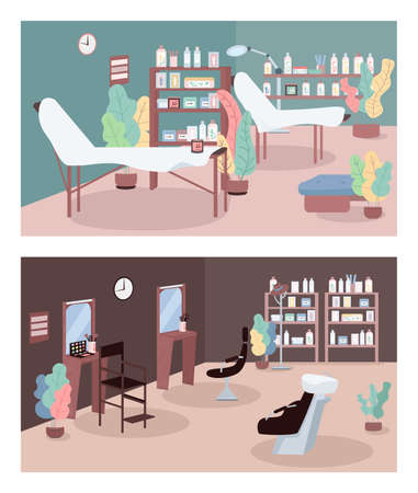 Beauty parlor flat color vector illustration set. Skincare center. Beauty salon interior. Cosmetology and hair salons. 2D cartoon character with furnitures on background collection  イラスト・ベクター素材