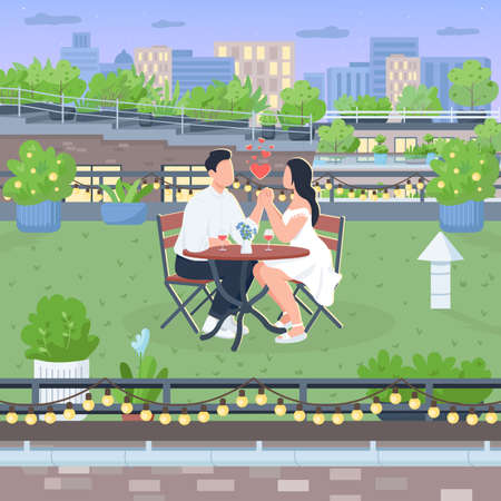 Romantic roof date flat color vector illustration. Boyfriend and girlfriend sit at table on rooftop. Romantic dinner in green yard. Couple 2D cartoon characters with landscape on background Illustration