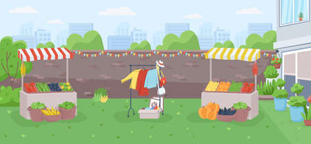 Backyard farmer market flat color vector illustration. Public community event for local trade. Counters for harvest sale. Urban marketplace 2D cartoon landscape with cityscape on background