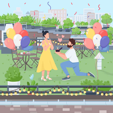 Surprise marriage proposal flat color vector illustration. Boyfriend propose on knee with diamond ring. Engagement party on rooftop. Couple 2D cartoon character with landscape on background Vetores