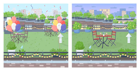 Rooftop for party flat color vector illustration set. Party celebration furniture on urban terrace. Romantic date in garden. Decorated roof 2D cartoon landscape with cityscape on background collection