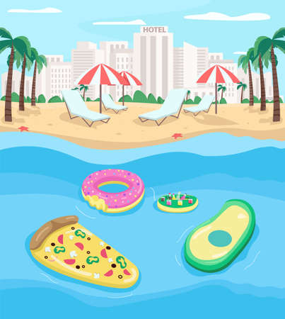 Tourist beach flat color vector illustration. Pizza, avocado pool floats. Summer vacation. Relaxation. Vettoriali