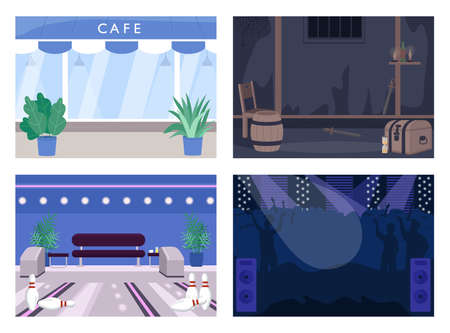 Weekend entertainment spot flat color vector illustration set. Cafe for lunch. Escape room. Bowling alley. Concert hall. Club 2D cartoon interior with decoration on background collection Illusztráció