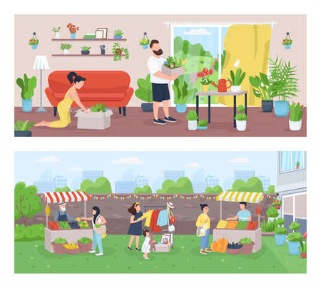 Gardeners and farmers flat color vector illustration set. Family growing houseplants. Farmer market. Community marketplace. Urban garden 2D cartoon landscape with characters on background collection