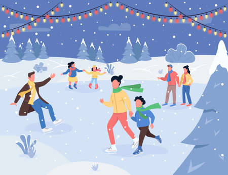 Christmas ice rink semi flat vector illustration. Children and adult on skates. Garland for New Year decoration. Traditional holiday activity. Family 2D cartoon characters for commercial use