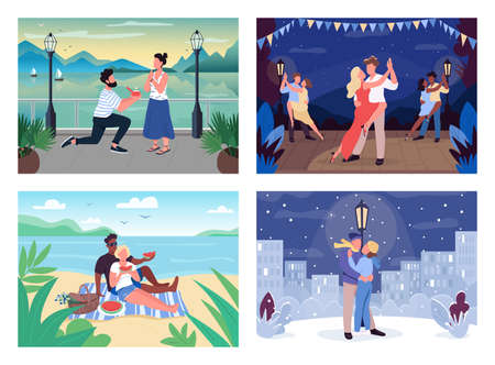 Romantic pastime flat color vector illustration set. Engaged pair. Man and woman on blanket on beach. Dancer perform. Couple on vacation 2D cartoon characters with landscape on background collection Ilustração