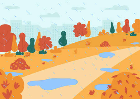 Autumn rain in park semi flat vector illustration. City garden with puddles for family activity. Town center with heavy rainfall. Fall seasonal 2D cartoon landscape for commercial use