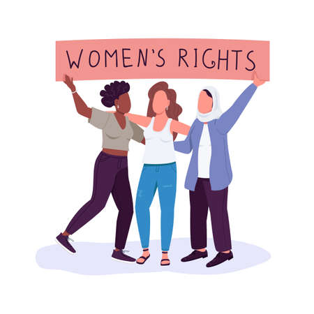 Women rights flat color vector faceless characters. Girls empowerment. Free from discrimination. Fighting for gender equality isolated cartoon illustration for web graphic design and animation