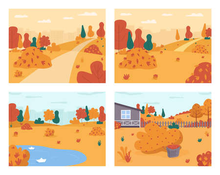 Autumn scenery semi flat vector illustration set. Seasonal urban park. Countryside house backyard. Walk in city garden. Rain puddle. Fall 2D cartoon landscape for commercial use collection