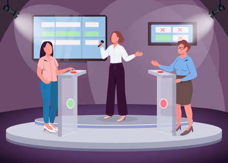 Intellectual show flat color vector illustration. Two girls taking quiz. Intelligent television show. TV channel. Quiz-master. 2D cartoon faceless characters with scene on background Illustration