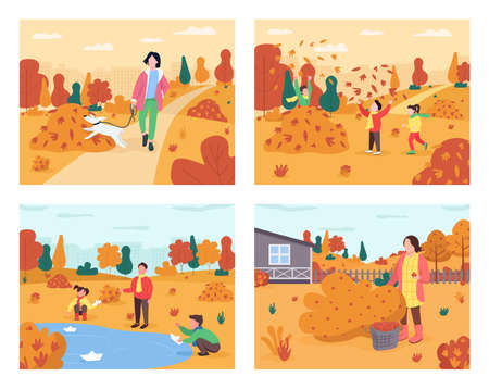Autumn recreation semi flat vector illustration set. Fall family activity. Children play in leaves pile. Pet owner with dog. People on holiday 2D cartoon characters for commercial use collection
