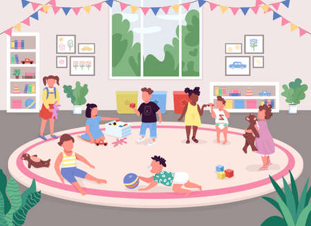 Kindergarten room flat color vector illustration. Children play in recreation room 2D cartoon faceless characters with toys, bookshelves, pink carpet and big window on background