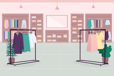 Clothes emporium flat color vector illustration. Department store. Shopping mall. Cloth boutique. Fashion store 2D cartoon interior with clothes shelves, hangers, mirror on background