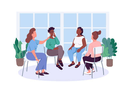 Women social support group flat color vector faceless characters. Female issues therapy meeting. Mental health care isolated cartoon illustration for web graphic design and animation