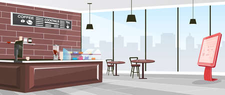 Inside cafeteria flat color vector illustration. Industrial coffee shop indoors. Restaurant with furniture and self service kiosk. Cafe 2D cartoon interior with window on background