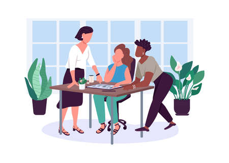 Women friendship flat color vector faceless characters. Girlfriends. Office relationship. Sharing problems. Female friends isolated cartoon illustration for web graphic design and animation Ilustración de vector