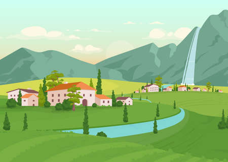 Tuscany scenery flat color vector illustration. River near farmhouses. Residential houses near mountain with waterfall. Idyllic countryside 2D cartoon landscape with nature on background