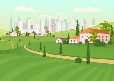 Suburban area flat color vector illustration. Countryside near city. Urban estate. Downtown scenery. Skyscrapers on horizon. Residential houses 2D cartoon landscape with skyline on background Vecteurs