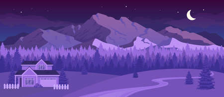 Nighttime mountains flat color vector illustration. Night in countryside. Residence near forest. Cottage near evening in woods. Rural terrain 2D cartoon landscape with nature on background