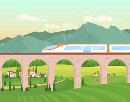 Express train flat color vector illustration. Railway with fast locomotive for travel. Village buildings. Rocky mountains line. Countryside 2D cartoon landscape with nature on background 矢量图像